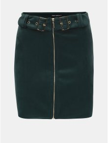 Tmavě zelená semišová sukně s detaily ve zlaté barvě TALLY WEiJL