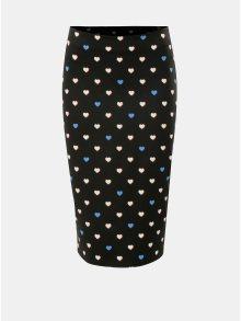 Černá pouzdrová sukně s motivem srdcí Dorothy Perkins