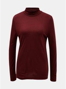 Vínové basic tričko s rolákem a s příměsí vlny Selected Femme Johanna