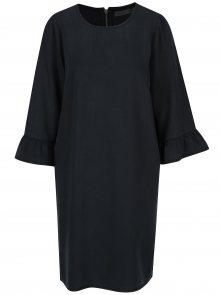 Tmavě modré džínové šaty s volány na rukávech VERO MODA Lissy