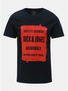 Tmavě modré tričko s potiskem Jack & Jones Rejistood
