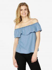 Světle modrý džínový top s odhalenými rameny VERO MODA Emilia