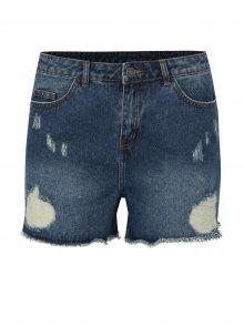 Modré džínové kraťasy s vysokým pasem a potrhaným efektem VILA Makkas