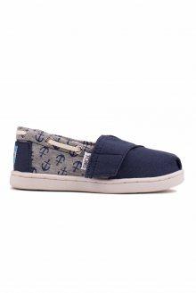 Toms modré dětské boty Bimimi Navy Canvas/Jersey Anchors - 23,5