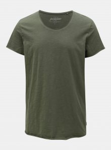 Khaki basic tričko Jack & Jones Bas