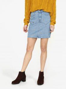 Modrá džínová sukně s aplikací ve tvaru hvězdy MISSGUIDED