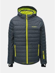 Šedá pánská žíhaná lyžařská bunda s neonovými detaily LOAP Omri