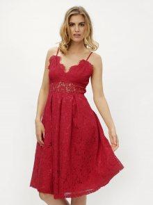 Červené krajkové šaty MISSGUIDED
