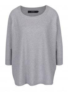 Světle šedý oversize svetr s 3/4 rukávy VERO MODA Karis