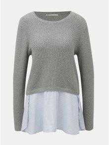 Šedý svetr s všitou košilovou částí ONLY Janelle