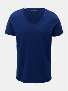 Modré basic tričko s krátkým rukávem Selected Homme Merce