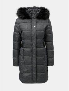 Šedý kostkovaný zimní kabát s umělým kožíškem na kapuci Dorothy Perkins