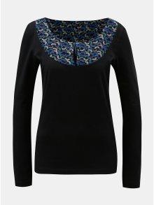 Černé tričko s vzorovanou částí v dekoltu Tranquillo Eos