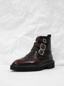 Vínové kožené kotníkové boty s brogue zdobením Frau Dream