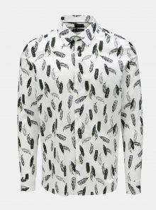 Bílá vzorovaná skinny košile Burton Menswear London