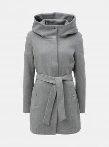 Šedý zimní žíhaný kabát s příměsí vlny VERO MODA Liva