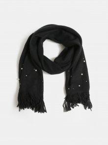 Černá pletená šála s perličkami Pieces Fatula