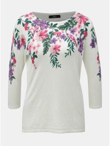 Bíly květovaný svetr s 3/4 rukávem M&Co
