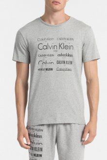 Calvin Klein šedé pánské triko S/S Crew Neck Heritage - L