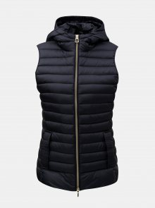 Tmavě modrá dámská prošívaná lehká péřová vesta s kapucí Geox