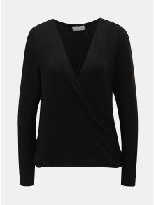 Černý lehký svetr s překládaným výstřihem Noisy May Metropol