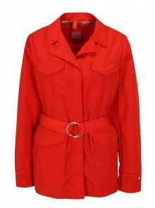 Červená dámská bunda s páskem Geox
