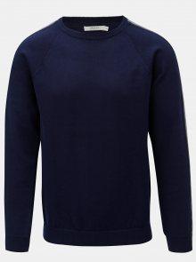 Tmavě modrý svetr s pruhy na rukávech Jack & Jones Kreon