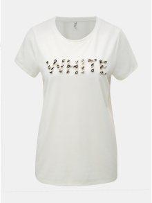 Bílé tričko s korálkovou nášivkou ONLY Winnie