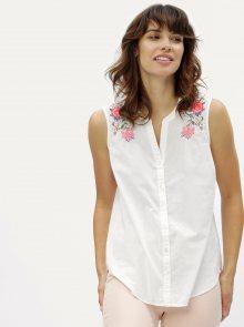 Bílá halenka bez rukávů s květovanou výšivkou M&Co