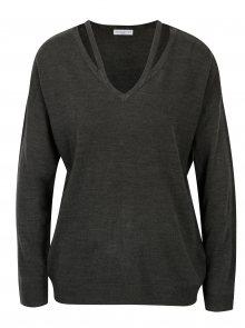 Tmavě šedý svetr s průstřihy Jacqueline de Yong More