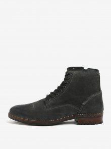 Tmavě šedé pánské semišové kotníkové boty Burton Menswear London