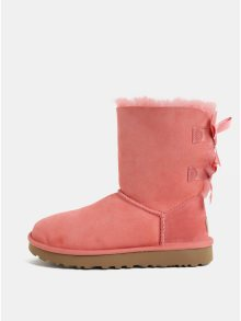 Růžové semišové zimní boty s vnitřním kožíškem UGG Bailey Bow