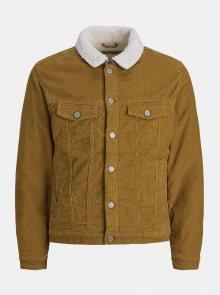 Hnědá manšestrová bunda s umělým kožíškem Jack & Jones Alvin