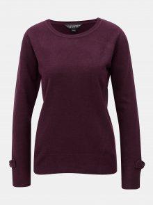 Fialový svetr s rozparky a mašlemi na rukávech Dorothy Perkins