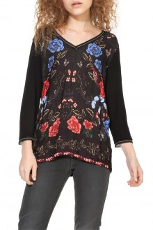 Desigual černé tričko Granada s barevnými motivy - XS