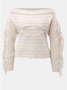 Světle růžový svetr s odhalenými rameny a třásněmi Miss Selfridge