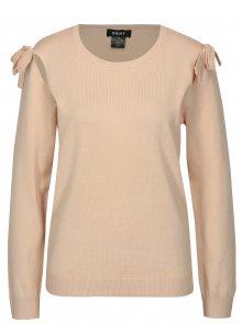 Světle růžový svetr s průstřihy na ramenou DKNY