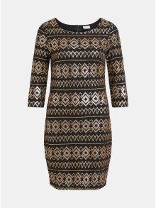 Černé šaty s 3/4 rukávem a flitry ve zlaté barvě VILA Vibeada