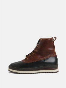 Hnědé pánské kožené kotníkové zimní boty s vnitřní vlněnou částí GANT Sheriff