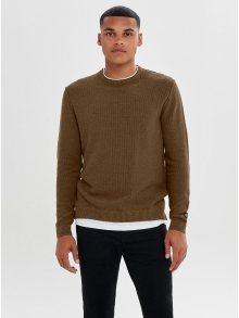 Hnědý lehký svetr s všitou tričkovou částí ONLY & SONS