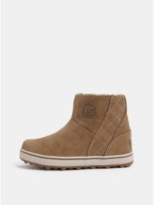 Světle hnědé dámské semišové zimní voděodolné boty SOREL Glacy Short