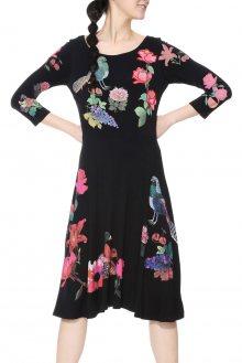 Desigual černé šaty Katixa s barevnými motivy - XS
