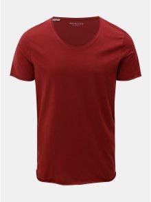 Červené basic tričko s krátkým rukávem Selected Homme Merce