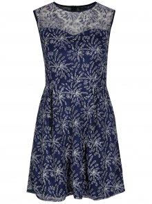 Tmavě modré áčkové vzorované šaty Mela London