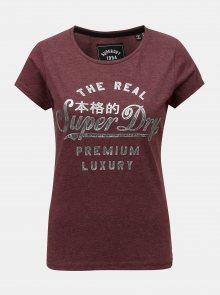 Vínové dámské tričko s krátkým rukávem Superdry
