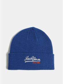 Modrá čepice s výšivkou loga a příměsí vlny Jack & Jones