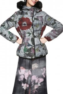 Desigual šedá bunda Poppy s barevnými vzory  - 40