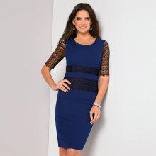 Venca Šaty s krajkovými krátkými rukávy královská modrá 38