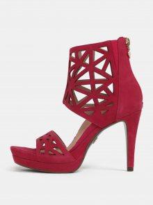 Tmavě růžové semišové sandálky na vysokém podpatku Tamaris
