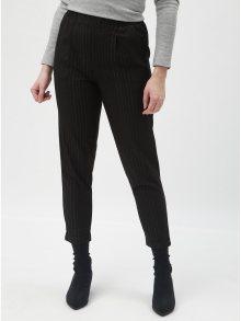 Černé pruhované zkrácené kalhoty s vysokým pasem TALLY WEiJL